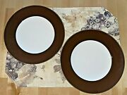 2-kate Spade For Lenox 9 1/2 Luncheon Plates Cordell Place Chocolatenear Mint