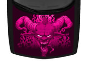 Horn Devil Flame Hot Pink Illustrated Truck Hood Wrap Vinyl Car Graphic Decal