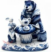 Gzhel Porcelain Figurine Of Forest Tea Party Bear Hedgehog And Hare Гжель