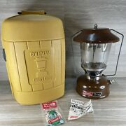 Vintage Coleman Lantern Model 275 Brown Picket Fence Globe And Yellow Case 1981 Us