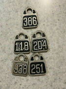 5 Rare Antique Cattle Cow Tags Cast Aluminum - Early Metal Tags