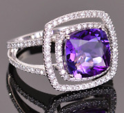 3.74ct Cushion Cut Amethyst Appears To Float In A Double Frame Band Womenand039s Ring