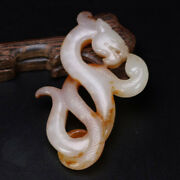 Collection Chinese 2thbc Han Antique Hetian Jade Carving Dragon Snake Decoration