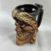 Vintage Ugly Funny Face Coffee Mug Stein Stoneware Signed