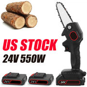 Mini Chainsaw4 Inch Cordless Electric Portable Chainsaw Rechargeable Battery Us