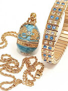 Something Out Of Blue Because I Love You Faberge Necklace Bracelet 24k