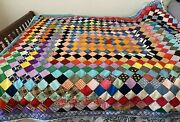 Hand-made Patchwork Quilt Vintage Farmhouse Style Colorful 80 X 76 - See Desc