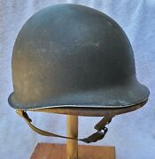 Rare Wwii Vintage Us Army Fixed Bail Front Seam M1 Helmet W/ Hawley Liner