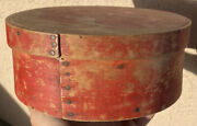Early 1800andrsquos Antique Exceptional Red Pantry Box 7andrdquo Original Red Paint Fantastic