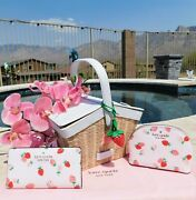 🌸 Kate Spade Picnic In The Park Strawberry Natural Wicker Basket New 398 🌸