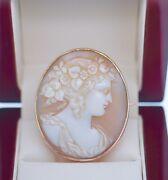 Vintage Jewellery Solid Gold Large Carved Shell Cameo Brooch Antique Jewelry