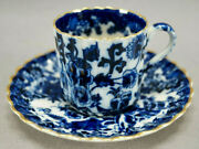 Copeland And Sons Blue And White Asian Style Pattern And Gold Demitasse Cup And Saucer B