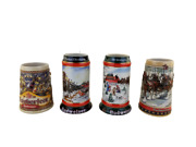 Lot Of 4 Vintage Budweiser Holiday/collector Steins 1988 91 92 Beer Mugs