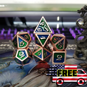 7pcs Blue Green Metal Dragon Scale Dice Polyhedral Dnd Rpg Mtg Set Game Role
