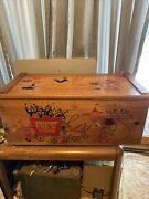 Vintage 1950's Antique Wooden Toy Chest Circus Clowns Musicians 30 By141/2by12in