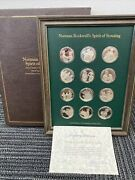 Norman Rockwell's Spirit Of Scouting Sterling Silver Proof 12 Coin Set W/coa