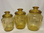 Vintage Mcm L E Smith Amber Yellow Glass Canister Apothecary Jars Set Of 3