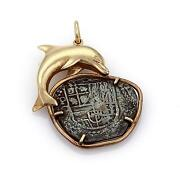 Antique Style Silver Coin 14k Yellow Gold Dolphin Pendant