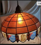 Large Old Style Swag Lamp Pool Table Light Beer Lite Stain Glass Sign