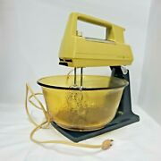 Complete Vintage Ge General Electric Stand Mixer Works Amber Textured Bowl Rare