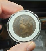 Cyprus 1 One Piastre 1884 Avf Queen Victoria Very Rare Key Date 18000 Only