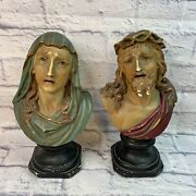 """Antique 100 Yr Old Plaster Jesus Christ And Weeping Mary Bust 12"""" Religious Statue"""