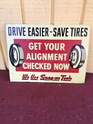 Rare Snap On Tools Wheel Alignment Tin Sign Original Gas Oil Drive Easier 9andrdquox12andrdquo