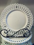 Antique Eapg Canton Reticulated Edge Milk Glass Collectible Plate Set Of 2