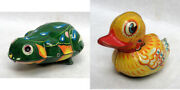 Whimsical 2 Vintage Tin Toys Scooter Duck And Hopping Frog Collectibles