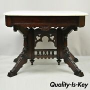Antique Victorian Aesthetic Movement Walnut Marble Top Parlor Lamp Side Table