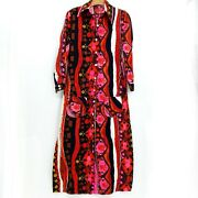 Vintage 60and039s Psychedelic Glow Bark Cloth Mod Long Sleeve M Maxi Dress