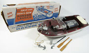 Vintage 1950's Ideal Toys Harbor Toy Ship Boat W/ Accessories And Box