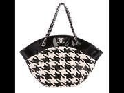 Authentic Houndstooth Hand Bag Purse Chain Tote