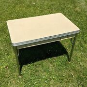 Daystrom 43 X 40 Draw Leaf Table W/ Drawer - Kitchen Chrome Vintage 50s Double