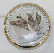 Vintage Solid Glass Flying Green Wing Teal Paperweight Drake Hen Waterfowl Gold