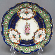 Nippon Hand Painted Georgian Lady Floral Green Cobalt And Gold Plate 1891 - 1921