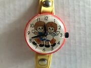 Raggedy Ann And Andy Vintage Wind Up Toy Watch 1975 Marx Toys Missing Buckle