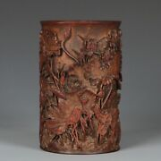 Antique Carved Bamboo Brushpot