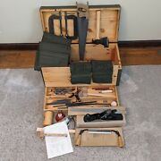 1950s Us Army No.1 Carpenters Tool Set - Unused Rolls Auger Bits Saw Plane
