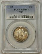 1917 25c Type 1 Standing Liberty Quarter Pcgs Ms 65 Fh Toned