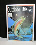1993 Vintage Cover Of A Magazine Outdoor Life 1935 Trout Fishing Metal Sign