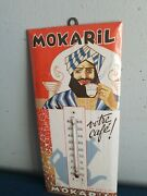 Vtg 1930s Mokaril Coffee Celluloid On Tin Guy Drinking Advertising Thermometer