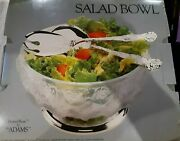 William Adams Crystal Silver Plated Salad Bowl And 2 Serving Pieces 8 3/4 Diam