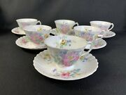 Set Of 6 Vintage Royal Doulton Arcadia Floral Tea Cups And Saucers Green Mark