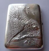 Antique Russian Sterling Silver Cigarette Case Wood Grouse