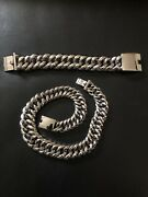 Stainless Steel Chain Link Necklace And Id Bracelet Set
