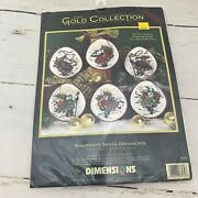 Dimensions Gold Collection Cross Stitch Kit 8530 Windswept Santa Ornaments Nos