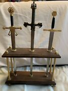 Excalibur,conan Barbarian,robin Good -3 Sword Letter Openers Set With Stand