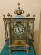 18.5 Chinese Cloisonne Enamel Wind Up 7 Days Chiming Clock Beautiful