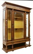 Antique Bookcase, Etched Glass French Henri Ii Style, Walnut, 1800's, Handsome